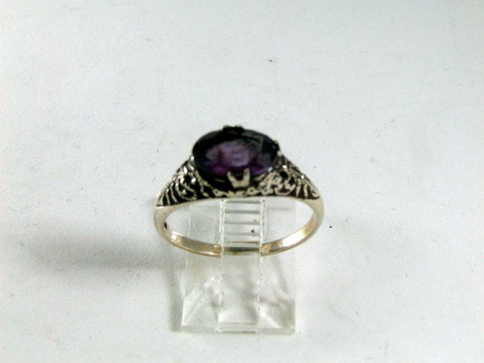 VINTAGE STERLING SILVER AMYTHEST RING SIZE 7
