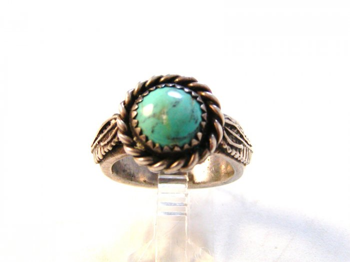 NATIVE AMERICAN NAVAJO STERLING SILVER TURQUOISE RING SIZE 8