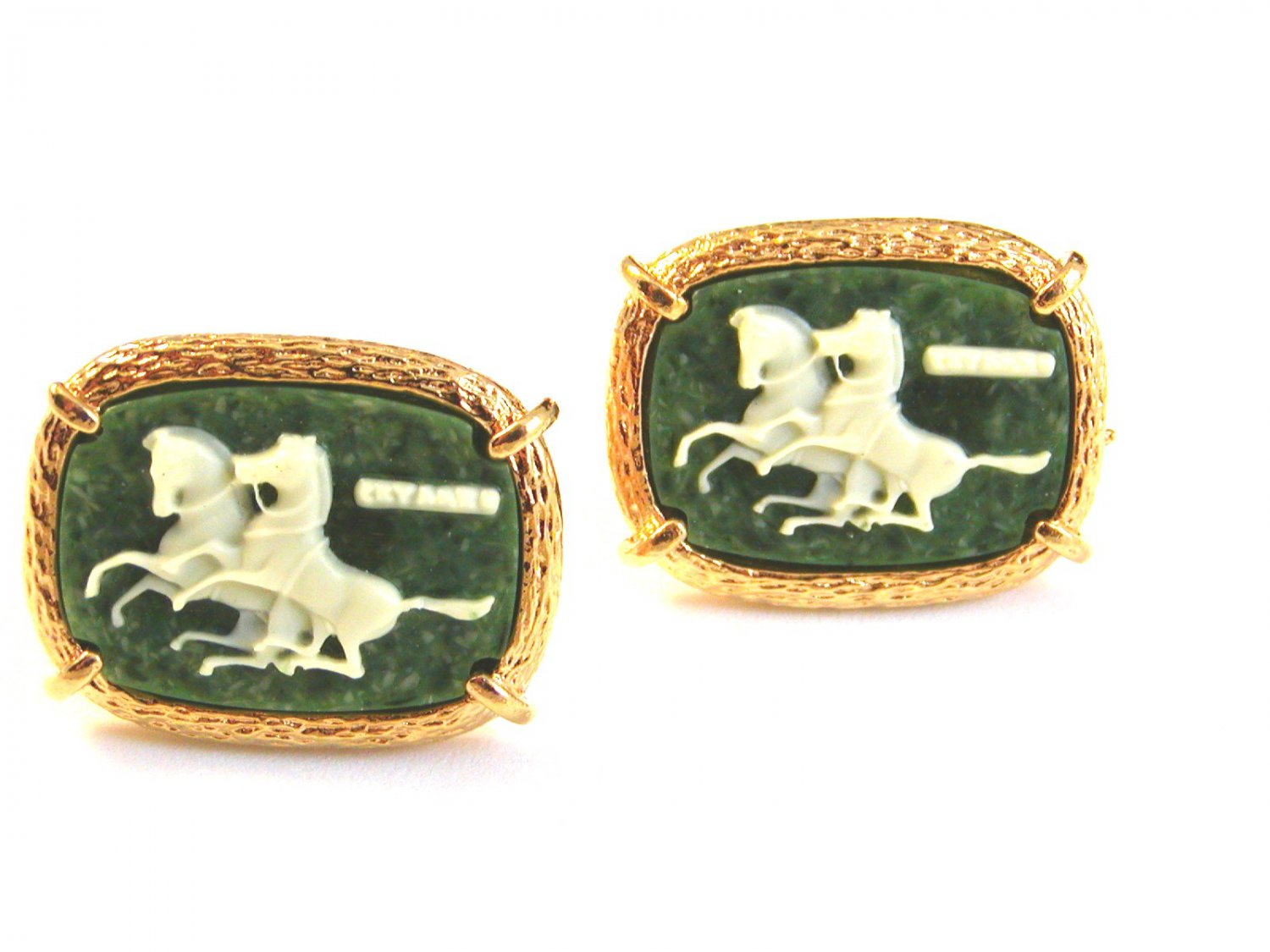 1970's Gold Tone & Green Cameo of 2 Horses Cufflinks