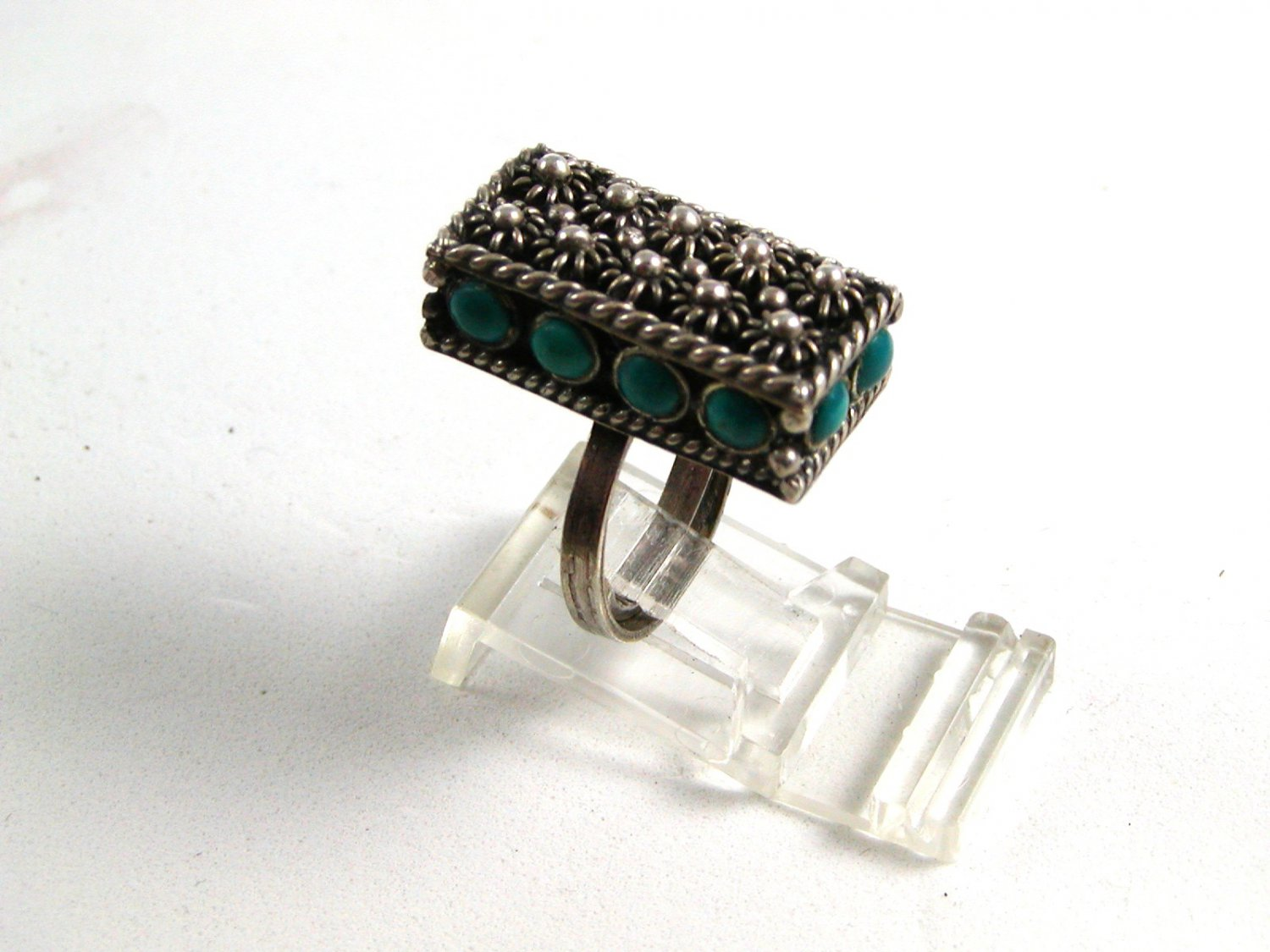 Adjustable Vintage Mexican Silver & Turquoise Ring Size 5 Old Eagle 2 Mark