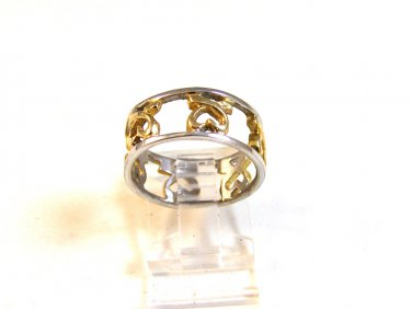 Vintage Sterling Silver 2 Tone Hearts Ring Size 7 3/4