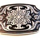 New Old Stock Silver Tone Black Enamel Western Cowboy Belt Buckle