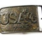 Vintage U.S.A. 76 Brass Belt Buckle Unbranded 73015