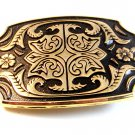 New Old Stock Gold Tone Black Enamel Western Cowboy Belt Buckle
