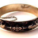 Vintage Siam Sterling Silver Black Niello Dancer Bangle Bracelet