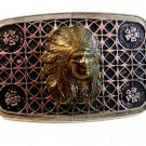 Vintage Silver Tone & 3D American Indian Chiefs Head Belt Buckle