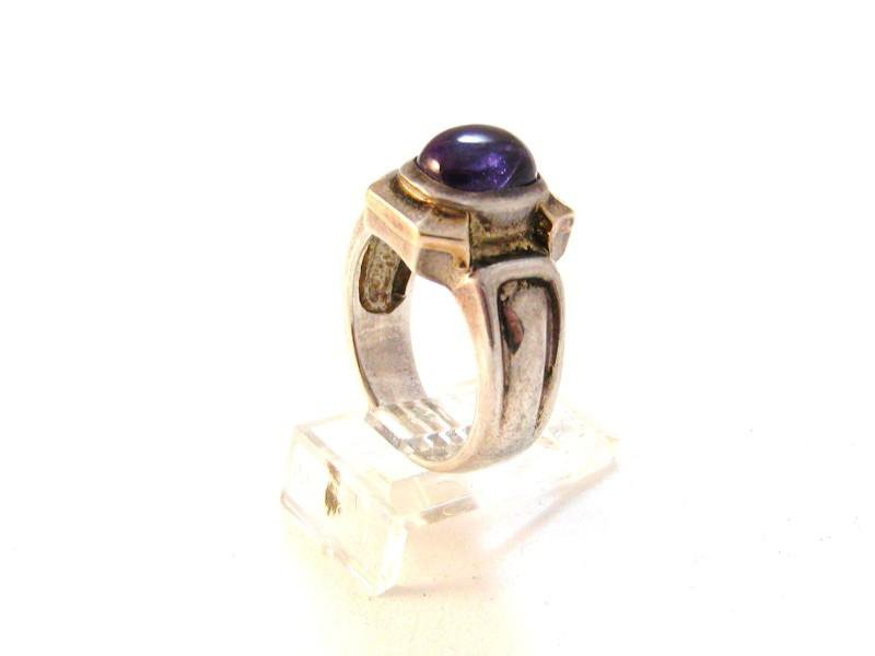 Vintage Sterling Silver Amythest 2 Tone Ring Sz 9 3/4