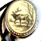 Southwest Silver Tone Moose Scrimshaw Leather Bolo By  L. Layden