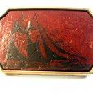 Vintage Sailing ship Leather & Brass Belt Buckle by BTS