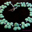 """Vintage Sterling Silver Turquoise & Austrian Crystal 22"""" Necklace"""