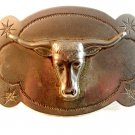 Vintage 1930's - 1950's Silver Tone Texas Longhorn Cowboy Western Belt Buckle
