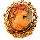 Vintage Hidden Heart Gold Tone Cameo of a Lady Brooch