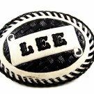 Western Cowboy Black & White LEE Leather Belt Buckle 7214