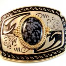 New Old Stock Western 2 Tone & Stone ? Belt Buckle Made in USA