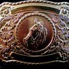 Vintage Silver Tone Western Horse Head Belt Buckle Made in U.S.A.