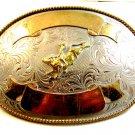 "Montana Silversmiths Bull Riding Western Rodeo Belt Buckle 5 3/4"" X 4"""