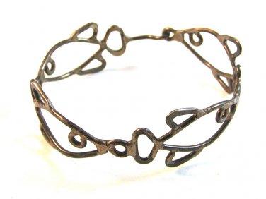 Vintage Primitive Handmade Sterling Silver 4 Fish Bracelet