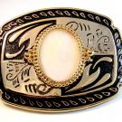 New Old Stock Western Rodeo White Stone ? Belt Buckle Made in USA