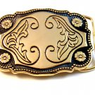 New Old Stock Gold Tone Western Cowboy Belt Buckle Made In USA