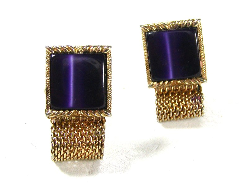 Vintage Goldtone & Purple Wrap Around Cufflinks Unbranded 71215
