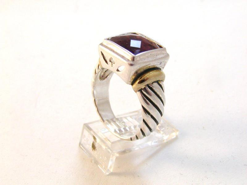 Vintage Sterling Silver Amythest 2 Tone Ring Sz 9