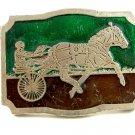 Vintage 1970's Enameled Horse Surrey Belt Buckle 10282013
