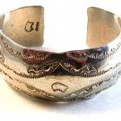 Signed Vintage Native American Sterling Silver Cuff Bracelet