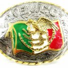 """Huge 4 1/2"""" X 3 1/2"""" Mexico Eagle Flag Belt Buckle Made In Mexico MIP 121514"""