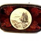 Vintage Schrimshaw Ship & Tooled Leather Belt Buckle