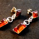 Vintage Deco Style Sterling Silver & Amber Earrings