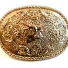 Vintage Silver Tone Western Cowboy Bull Head Belt Buckle