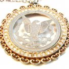 "Vintage Silver Tone Cut Out American Eagle Coin Pendant & 24"" Chain"