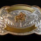 Silver & Gold 2 Tone Western Cowboy Rodeo Riding Belt Buckle by Justin