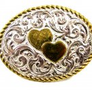 Ladies Silvertone Goldtone 2 Hearts Belt Buckle by Crumrine USA 101414