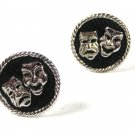 Vintage Silvertone & Black Comedy Tragedy Theatre Cufflinks Unbranded 71015