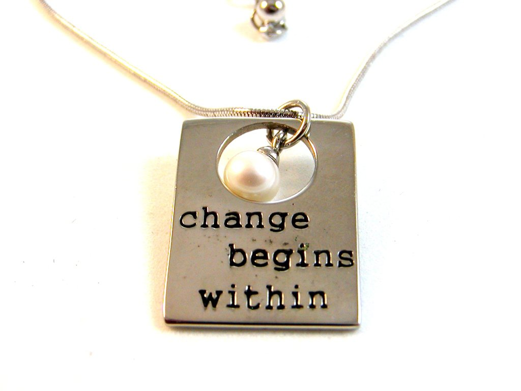 """Alexa's Angels Silver Tone Change Begins Within Pearl Pendant / 18"""" Necklace"""