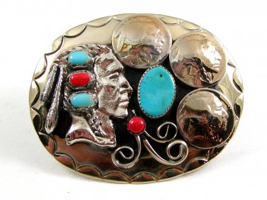 Southwest Handcrafted Indian Head 3 Nickles Coral Turquoise Belt Buckle USA