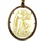 Goldtone White Molded Glass of Greek Lady With Doves Pendant Unmarked 102014