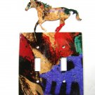 Wild Horse Double Light Switch Cover Plate by Steel Images USA 030315S