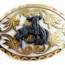 Western Goldtone White Cowboy Riding Broncho Belt Buckle #102113
