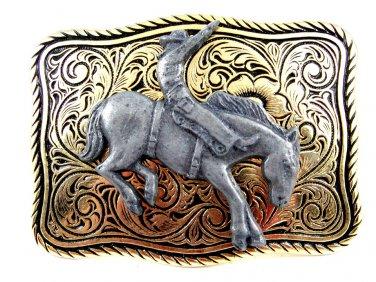 Made in USA Western Goldtone Black Cowboy on Broncho Belt Buckle #102113m