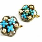 Ladies True Vintage Silvertone Faux Pearls Blue Flowers Cufflinks Unmarked