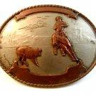 Vintage German Silver Western Cowboy Belt Buckle by Comstock Silversmiths