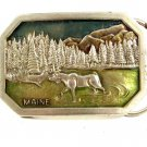 Vintage Maine Moose Woods Belt Buckle 10282013
