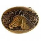 Small Vintage Horse Head Brass Belt Buckle by Award Designs
