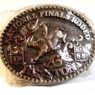 Vintage Mini 1988 National Finals Rodeo Steer Riding Belt Buckle by Hesston