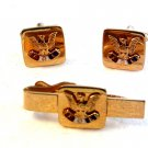 Vintage Fraternal order of Eagles Cufflinks and Tie Clasp