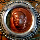 Vintage 3D Image of John Kennedy in Copper Unknown Language Belt Buckle