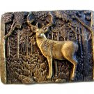 Vintage 1981 Deer Buck In Woods Belt Buckle by Chad Corp