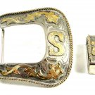 Large Western Cowboy 2 Tone Letter / Initial S Belt Buckle Marked Mexico 111214
